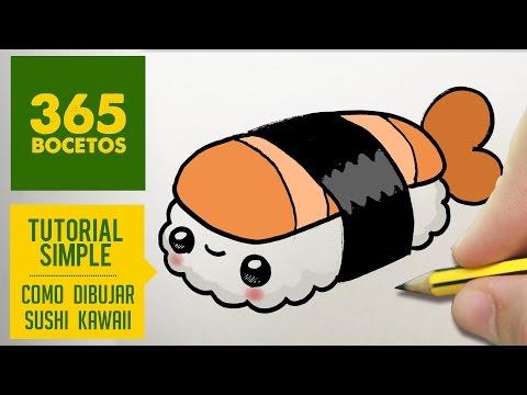 Como dibujar Nigiri de sushi kawaii
