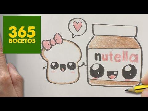 Como dibujar Nutella y Pan kawaii