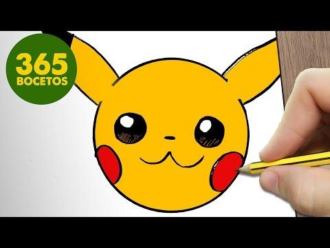 Como dibujar Pikachu kawaii