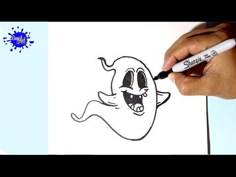 Como dibujar un adorable Fantasma para Halloween