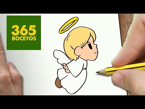 Como dibujar un  Angelito de Navidad