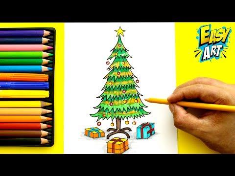 Como dibujar un Árbol de Navidad fácil