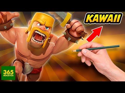 Como dibujar un Bárbaro de Clash Royale kawaii