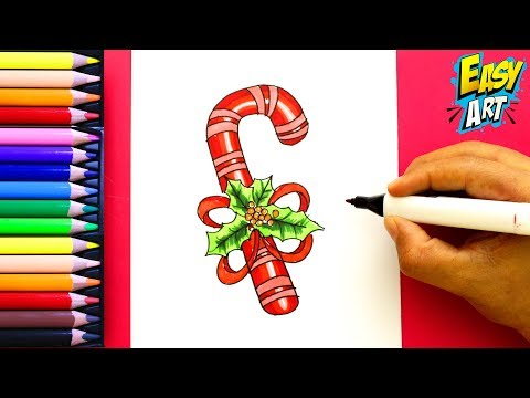 Como dibujar un Bastón de Caramelo para Navidad