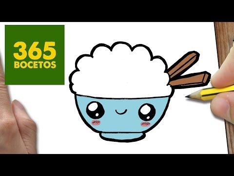 Como dibujar un bol de arroz kawaii
