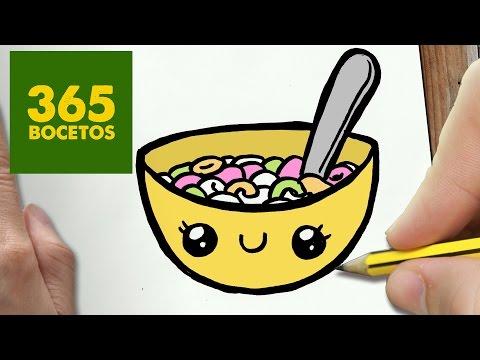 Como dibujar un bol de cereales kawaii