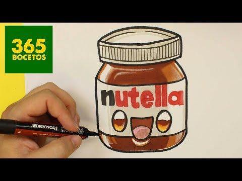 Como dibujar un bote de Nutella kawaii paso a paso