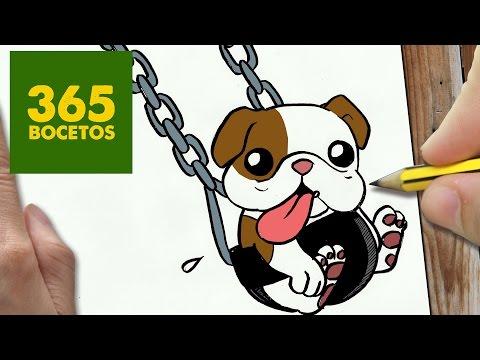 Como dibujar un Bulldog en un columpio