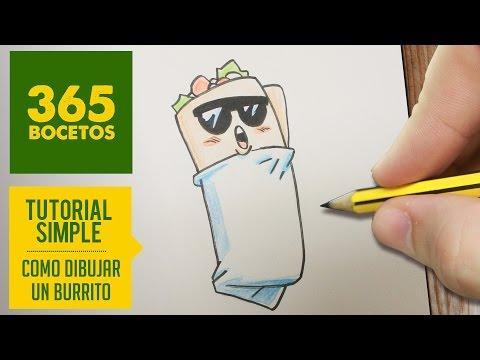Como dibujar un burrito mexicano kawaii