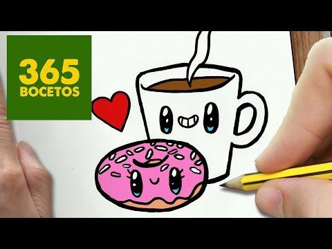 Como dibujar un café y un donut enamorados