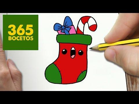 Como dibujar un calcetín de Navidad