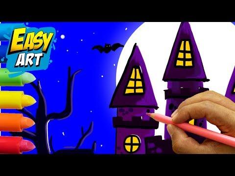 Como dibujar un castillo para Halloween