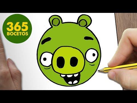 Como dibujar un cerdo verde de Angry Birds