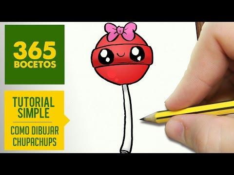 Como dibujar un Chupa Chups Kawaii