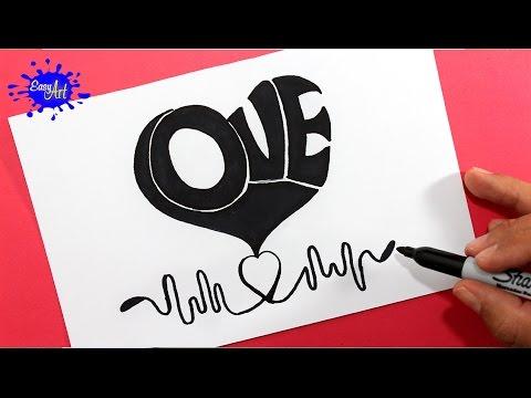 Como dibujar un corazón con las letras LOVE