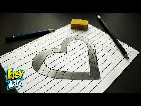Como dibujar un corazón en 3D para San Valentín