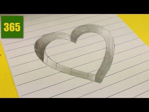 Como dibujar un Corazón en 3D paso a paso