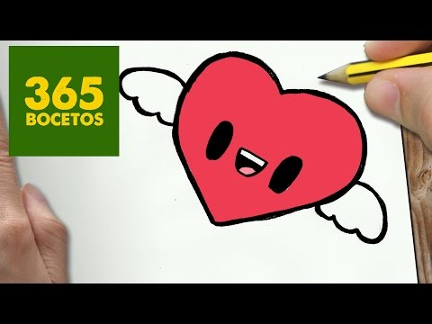 Como dibujar un corazón kawaii con alas