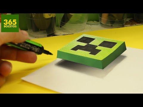 Como dibujar un Creeper de Minecraft en 3D