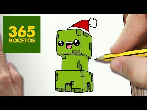 Como dibujar un Creeper de Minecraft navideño