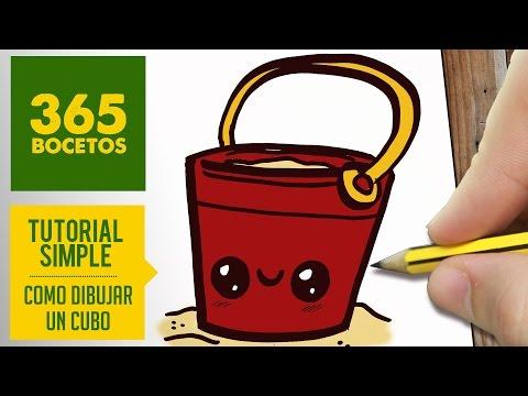 Como dibujar un cubo kawaii