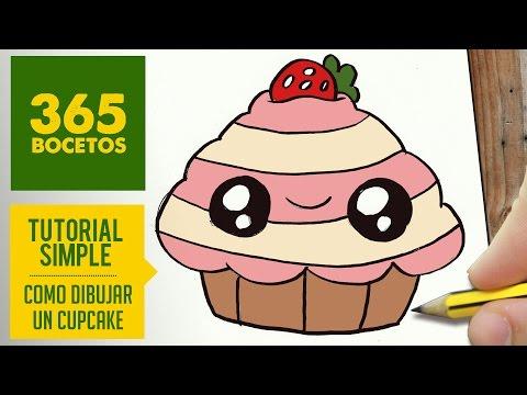 Como dibujar un Cupcake de fresa