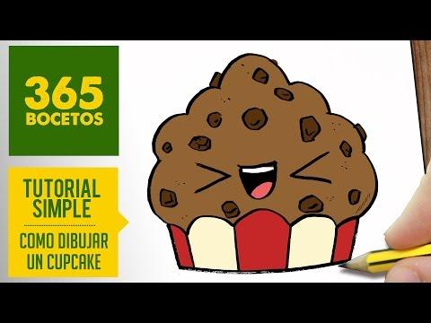 Como dibujar un cupcake divertido