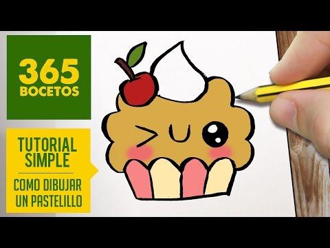 Como dibujar un cupcake kawaii
