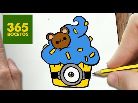 Como dibujar un cupcake minion