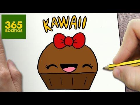 Como dibujar un cupcake sonriente kawaii