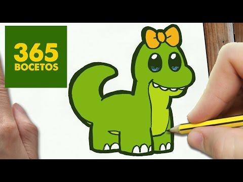 Como dibujar un dinosaurio kawaii paso a paso