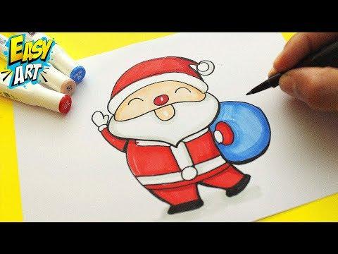 Como dibujar un divertido Papá Noel para Navidad