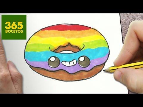 Como dibujar un Donut con glaseado Arco Iris