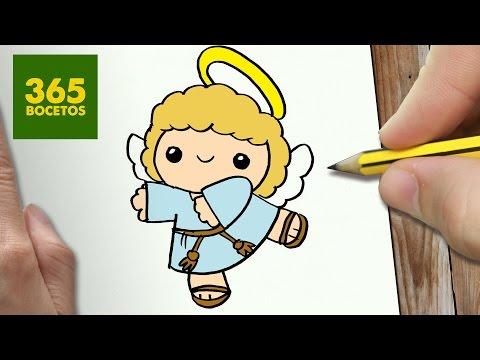 Como dibujar un dulce Angelito de Navidad