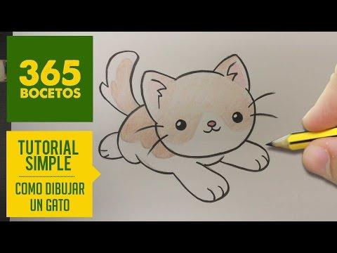 Como dibujar un dulce gatito kawaii