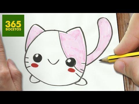 Como dibujar un dulce gato kawaii