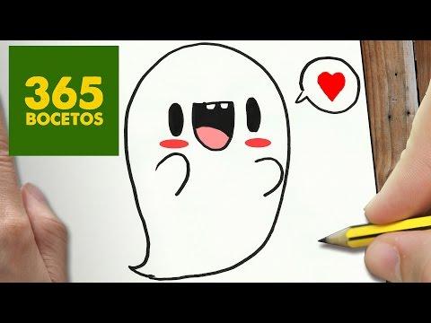 Como dibujar un Fantasma Kawaii