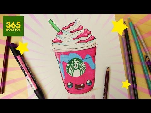 Como dibujar un Frappé de Starbucks kawaii