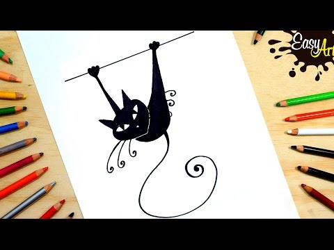 Como dibujar un Gatito negro