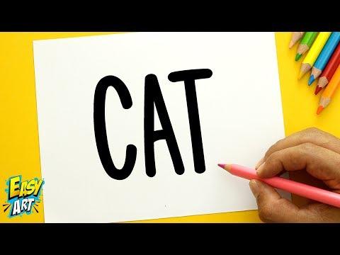Como dibujar un gato a partir de sus letras