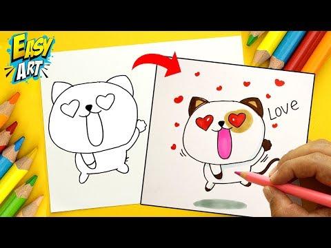 Como dibujar un gato enamorado paso a paso