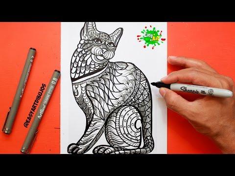 Como dibujar un Gato estilo Mandala