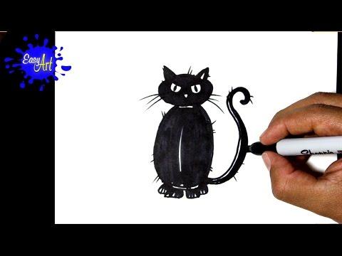 Como dibujar un gato negro para Halloween