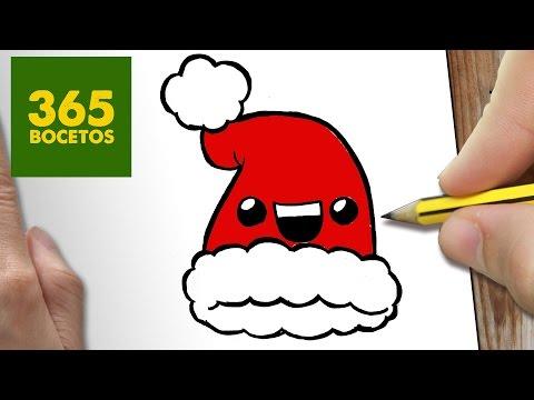 Como dibujar un Gorro de Papá Noel Kawaii