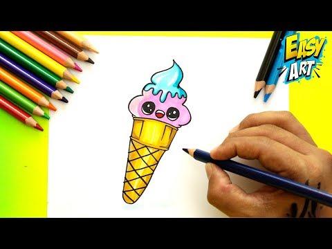 Como dibujar un Helado kawaii fácil