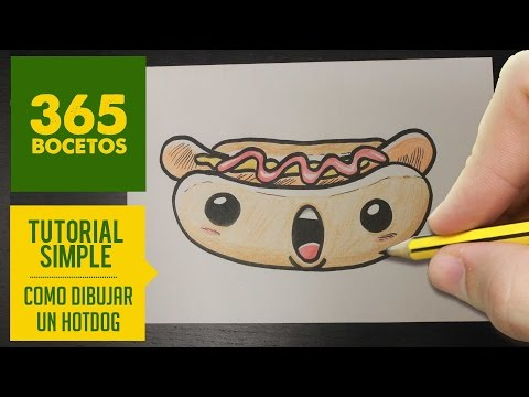 Como dibujar un hot dog kawaii