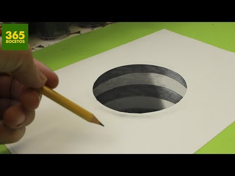 Como dibujar un Hoyo 3D fácil