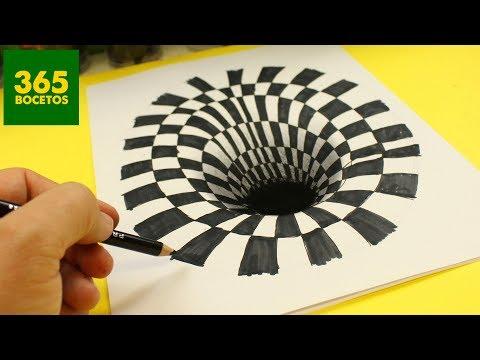 Como dibujar un Hoyo en 3D paso a paso fácil