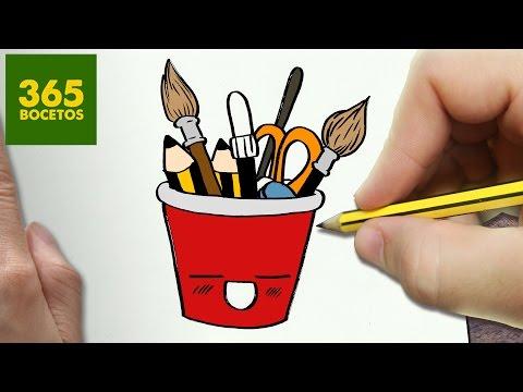 Como dibujar un lapicero kawaii paso a paso