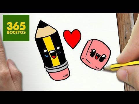 Como dibujar un lápiz y goma enamorados kawaii